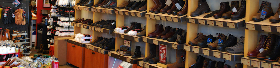 Work Boots on the shelf at the Red Wing Shoes in Chester, Virginia
