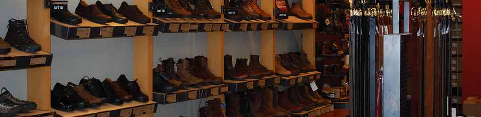 Work Boots and Shoes on the Shelves at the Red Wing Shoes on Midlothian Turnpike